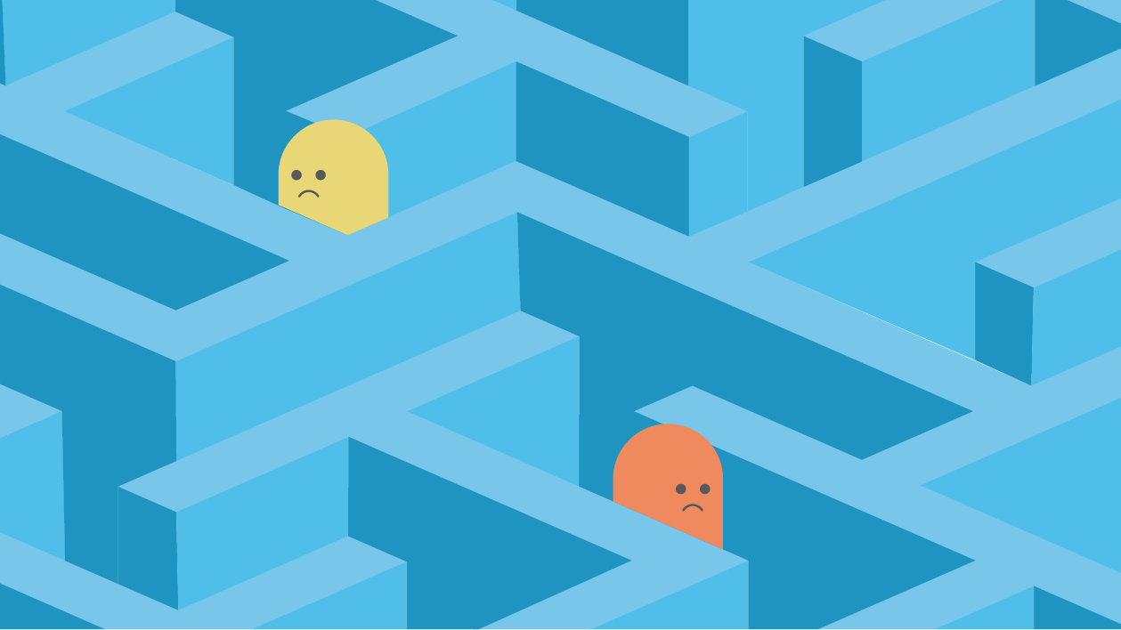 illustration of two people stuck in a maze looking sad