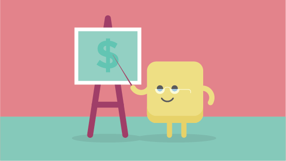 Yellow square figure in front of a finance presentation